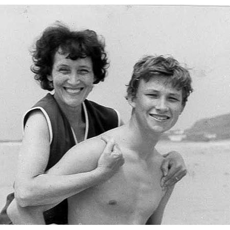 Piggy back with his Mother Lily on holiday in Jersey.