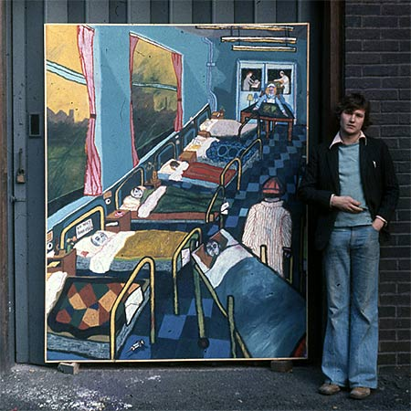 Ollis outside The Royal College of Art, London with: Hospital Ward 1976, Oil on canvas 213 x 152cm