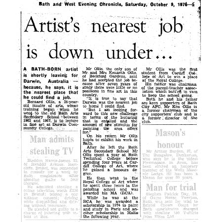 Article from The Bath Chronicle, October 1976