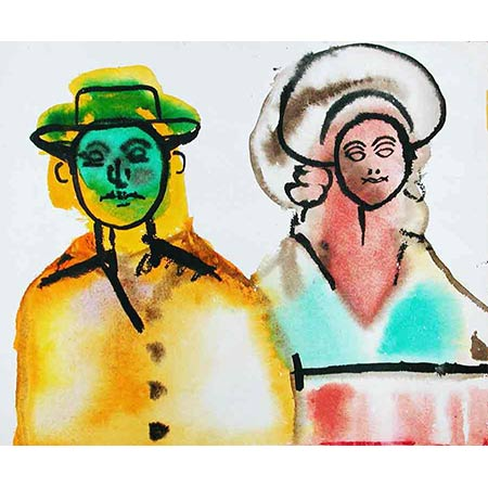 Man and Woman, Paris series 1974, Watercolour on paper, 20 x 23cm