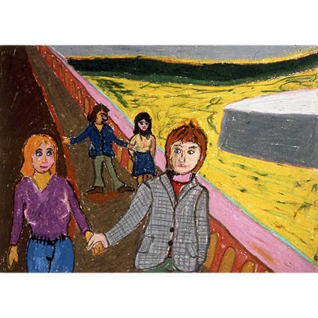 Celia Pike and Bernard, together with Jim and Ann Hunter take a walk by the Seine, Paris series 1974, Oil pastel on paper, 30 x 46cm