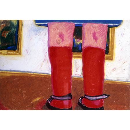The Red Socks, Paris series 1974, Oil pastel on paper, 30 x 46cm
