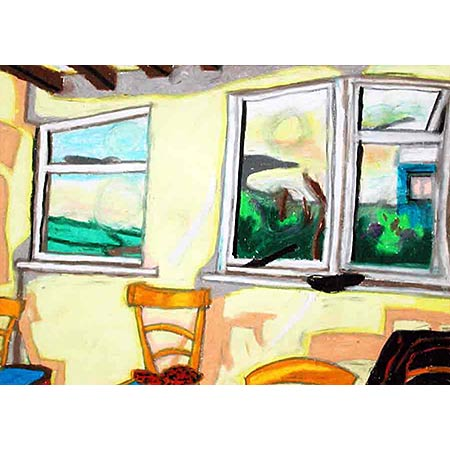 Tintagel Windows 1975, Oil pastel, 28 x 40cm. From a series of works completed in Cornwall, UK