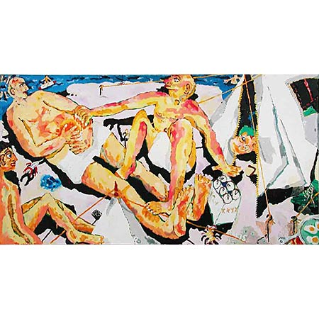 Bathers 1994 reworked 95, Oil on canvas, 172 x 321cm