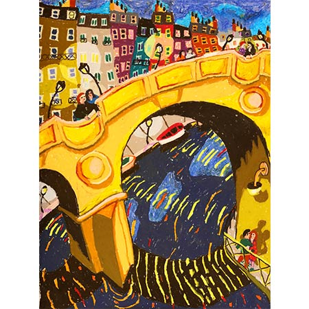 Lovers and Bridges 2013, Oil pastel on paper 76 x 57cm