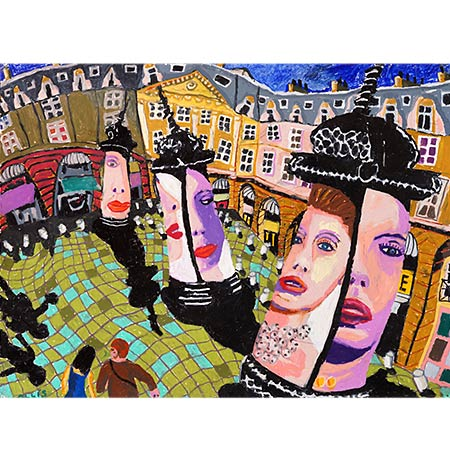Place Vendome with Cartier Advertising 2013, Oil pastel on paper, 57 x 76cm