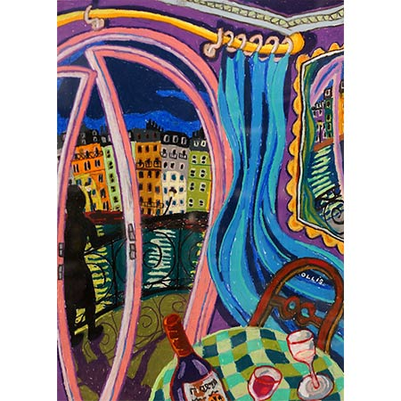 Seine Views with Blue Curtain 2012, Oil pastel on paper, 76 x 58cm