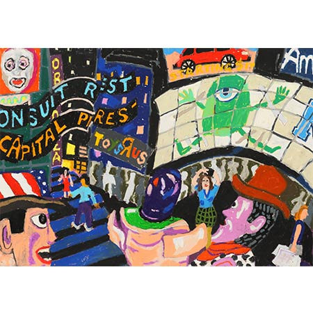 Times Square 2013, Oil pastel on paper 42 x 60cm